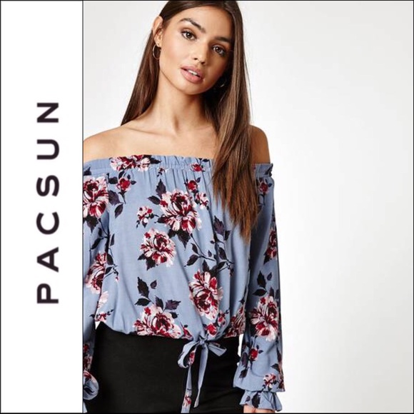 defbbdb0841838 PacSun Tops | Kendall Kylie Floral Off The Shoulder Top | Poshmark